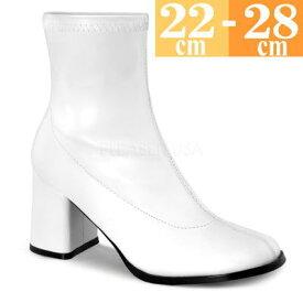 【サイズ交換ok】Pleaser/プリーザー 取寄せ ショートブーツ 白(つや消し) 合皮 レディース 大きいサイズ 靴 GOGO150WPU