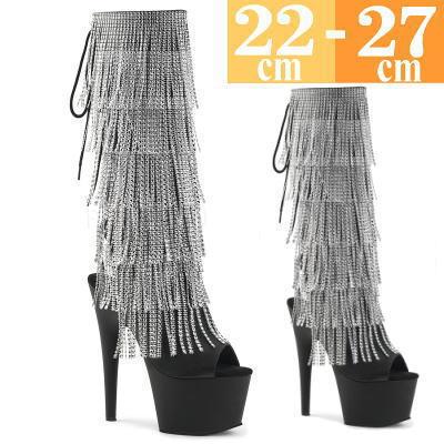 【お取り寄せ品】フリンジブーツ 黒 ヒール高18cm【イベント 舞台 コスプレ 衣装 大きいサイズ 靴 C-GEM】ADO2024RSF-BPU (type)