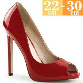 【Pleaser USA 正規保証品】  取寄せ ハイヒールパンプス 赤 キャバ ヒール ピンヒール プリーザー 二次会 パーティー 大きいサイズ ピンヒール エナメル レディース コスプレ オープントゥ 靴 SEXY42RR