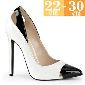 お取り寄せ ハイヒールパンプス 白/黒 大きいサイズ ピンヒール エナメル レディース キャバ 女王様 ボンテージ コスプレ 女装用 男性 靴 SEXY22WB