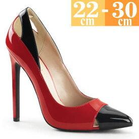 お取り寄せ ハイヒールパンプス 赤/黒 大きいサイズ ピンヒール エナメル レディース キャバ 女王様 ボンテージ コスプレ 女装用 男性 靴 SEXY22RB