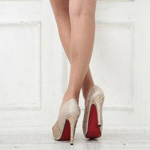 パンプスハイヒールゴールドオープントゥ厚底パーティキャバヒール結婚式キャバ嬢レッドソールビジューキラキラレディース女性用靴ピンヒール12cmヒール日本メーカーBENEDETTAベネデッタpmp1h-hic-jecabaj3276
