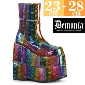 【サイズ交換ok】Demonia/デモニア 取寄せ 厚底ブーツ ハイカット ラバーソール スニーカー 黒 厚底 靴 パンク ゴシック コーデ ファッション ユニセックス メンズ レディース 大きい サイズ 女装 男 コスプレ STA201