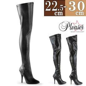 サイハイブーツ 大きい サイズ ロングブーツ ニーハイブーツ 大きいサイズ ハイヒール ピンヒール 12cmヒール 黒 ブラック ポインテッド 26cm 27cm 28cm 29cm レディース ボンテージ 女王様 女性用 男性用 コスプレ 靴 ftzm Thi2 butu2 h-hi c-bk