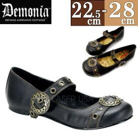 【サイズ交換ok】Demonia/デモニア パンプス 黒 ぺたんこ靴 大きいサイズ 26cm 27cm 28cm フラット レディース 靴 シューズ スチーム パンク ゴシック コスプレ スニーカー 女装 男の娘 casu2 h-lo c-bk DAI09