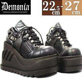 【サイズ交換ok】Demonia/デモニア 厚底スニーカー 黒 ハイカット ブーツ レディース 靴 シューズ パンク ゴシック ロリータ コーデ ファッション コスプレ デモニア 厚底 スニーカー casu1 h-lo c-bk STO09