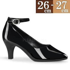 【サイズ交換ok】Pleaser/プリーザー パンプス 大きいサイズ ローヒール パンプス 低め 7.5cm ヒール 黒 ブラック エナメル ストラップ ポインテッド 痛くない 走れる 通勤用 フォーマル レディース シューズ 靴 女性用26cm 27cm