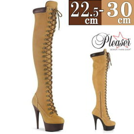 【サイズ交換ok】Pleaser 取寄せ サイハイブーツ ブラウン フェイクレザー 合皮 ブーツ 厚底 ロング ニーハイ 編み上げ レースアップ ピンヒール ハイヒール レディース シューズ 15cm センチ ヒール プリーザー 大きい サイズ 女性用 靴 Thi0