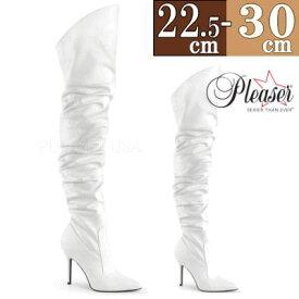 【サイズ交換ok】Pleaser/プリーザー 取寄せ ロングブーツ 白 ホワイト ルーズ クシュクシュ ピンヒール ポインテッドトゥ レディース 靴 女装 大きいサイズ Thi0 ftzm CLASSIQUE-3011WPU