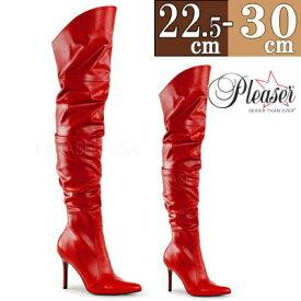 【サイズ交換ok】Pleaser/プリーザー 取寄せ ロングブーツ 赤 レッド クシュクシュ ピンヒール ポインテッドトゥ レディース 靴 女装 大きいサイズ Thi0 ftzm CLASSIQUE-3011RPU