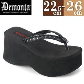 【サイズ交換ok】Demonia/デモニア 取寄せ 厚底 サンダル 黒 レディース ビーチサンダル 靴 シューズ キャバ コスプレ DEMONIA FUNN33BVL