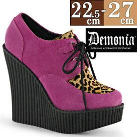 【サイズ交換ok】Demonia/デモニア 取寄せ 厚底靴 ピンク 豹柄 スウェード風合皮 靴 クリーパーソール パンク ロック ゴシック 原宿系 v系 コーデ ファッション シューズ レディース コスプレ CRE304/HPVS-LPPY