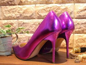 即納/あす楽パンプスエナメルハイヒール(10cm)ピンヒールポインテッドトゥ小さいサイズ22cm23cmレディース女性用靴メタリックキラキラPLEASER.USACLASSIQUE-20/OCMPU(stock)