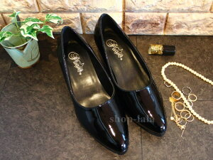 パンプス黒(ブラック-エナメル)大きいサイズ26cm27cm28cm29cmローヒールレディース痛くない走れるシューズ靴就活通勤リクルート男性用女装ヒール【pumpsH-LOC-BKRCRTFAB420B】
