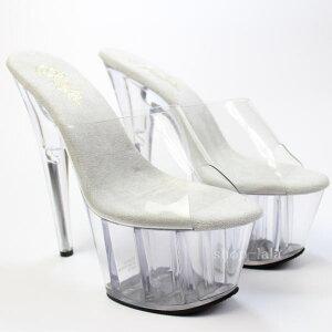 即納/あす楽厚底サンダルクリアハイヒールヒール高(18cm)ピンヒールクリアヒールレディース靴仮装PLEASER.USAADO701C/M(stock)