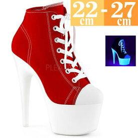【サイズ交換ok】Pleaser/プリーザー 取寄せ 厚底ハイヒールスニーカー 赤 ピンヒール 18cm センチ ヒール 大きいサイズ レディース 靴 シューズ コスプレ 女装 男の娘 ポールダンス c-uv pole-D h-ta ADO700SK-02