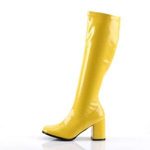 【Pleaser.USA/海外セレブ愛用ブランド】取寄せロングブーツイエロー黄色レディースコスプレ太ヒールローヒール低めパーティー大きいサイズ女装男性靴GOGO-300YL