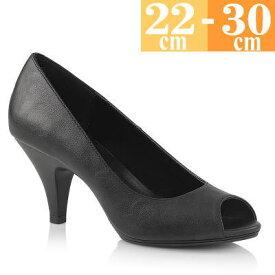 【サイズ交換ok】Pleaser/プリーザー  取寄せ ハイヒール パンプス 黒 つや消し 合皮 オープントゥ 大きいサイズ キャバ ヒール ピンヒール プリーザー 二次会 パーティー ピンヒール レディース 低め 男性 女装 仮装 靴 BEL362BPU