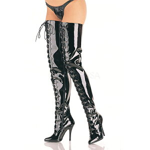 ニーハイブーツ(編み上げ)ピンヒール黒12.5cmヒール【大きいサイズ26cm27cm28cm29cm30cmニーハイブーツピンヒールエナメルポインテッドトゥ女王様ボンデージボンテージ女装用男性靴】SED4026B(type)
