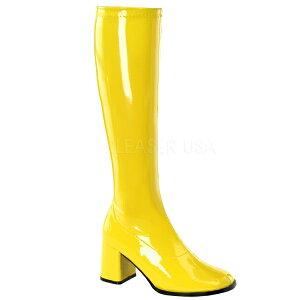 ロングブーツイ・ーヒール高7.6cm【黄色レディースプラットフォーム大きいサイズ女装男性靴】GOGO-300YL(type)