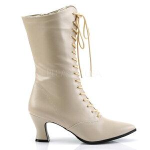ショートブーツクリームヒール高7cm【レディースポインテッドトゥ大きいサイズ女装男性靴】VICTORIAN-120/CR/PU(type)
