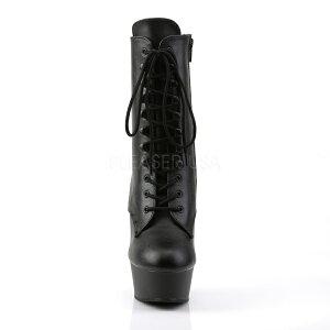 ショートブーツ黒(合皮)ヒール高15cm【つや消しブラックピンヒールプラットフォームレディース靴女装大きいサイズ】DELIGHT-1020/BPU/M(type)