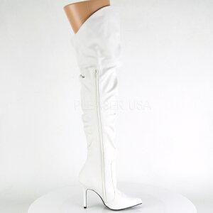 【お取り寄せ品】ロングブーツ白【ホワイトルーズクシュクシュピンヒールポインテッドトゥレディース靴女装大きいサイズ】CLASSIQUE-3011WPU(type)