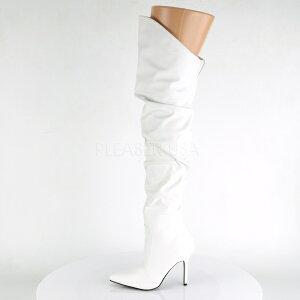 ロングブーツ白ヒール高10cm【ホワイトルーズクシュクシュピンヒールポインテッドトゥレディース靴女装大きいサイズ】CLASSIQUE-3011WPU(type)