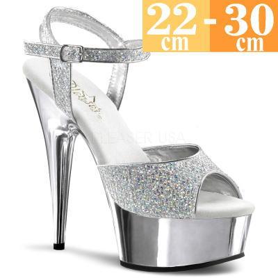 【お取り寄せ品】厚底サンダル シルバー【ピンヒール レディース 靴 女装 大きいサイズ C-GEM】DEL609GSM (type)