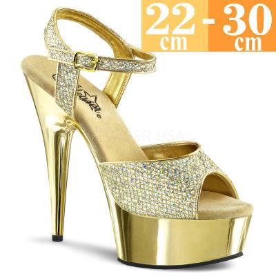 【お取り寄せ品】厚底サンダル ゴールド【ピンヒール レディース 靴 女装 大きいサイズ C-GEM】DEL609GGM (type)