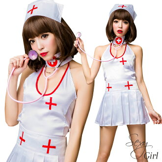 Nurse cosplay non-products white WHITE nurse Cap white nurse dress costume cosplay nurse down set separate sexy nurse clothes uniform sleeveless Sleeveless Women Halloween costume