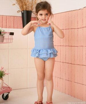 キッズ水着女の子ワンピース110120130140150cmギンガムチェックレッドブラックライトブルーピンクフリル可愛い通販キッズ水着女の子水着ジュニア子供スイムウェア