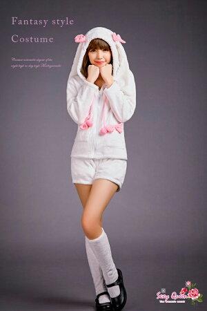 ウサギバニーコスチュームバニーガールアニマルもこもこモコモコウサギルームウェアコスプレ衣装ハロウィンコスプレコスチューム衣装