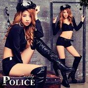 ハロウィンコスプレポリス婦人警官制服コスプレ衣装仮装ブラック黒長袖ショートパンツセクシー帽子付き6点セットコスチューム衣装変装レディース警察警官ハロウィン仮装通販