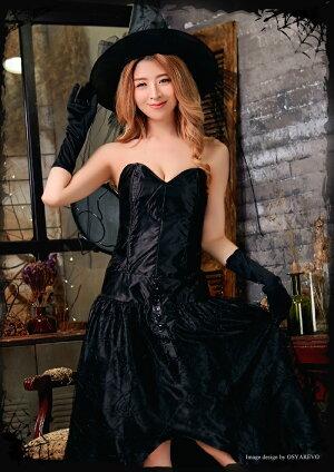 ハロウィンコスプレ魔女ウィッチコスチューム衣装仮装レディース小悪魔ペアコスプレドレスとんがり帽子グローブハット飾りリボン4点セット女性用大人用魔法使いcosplay通販