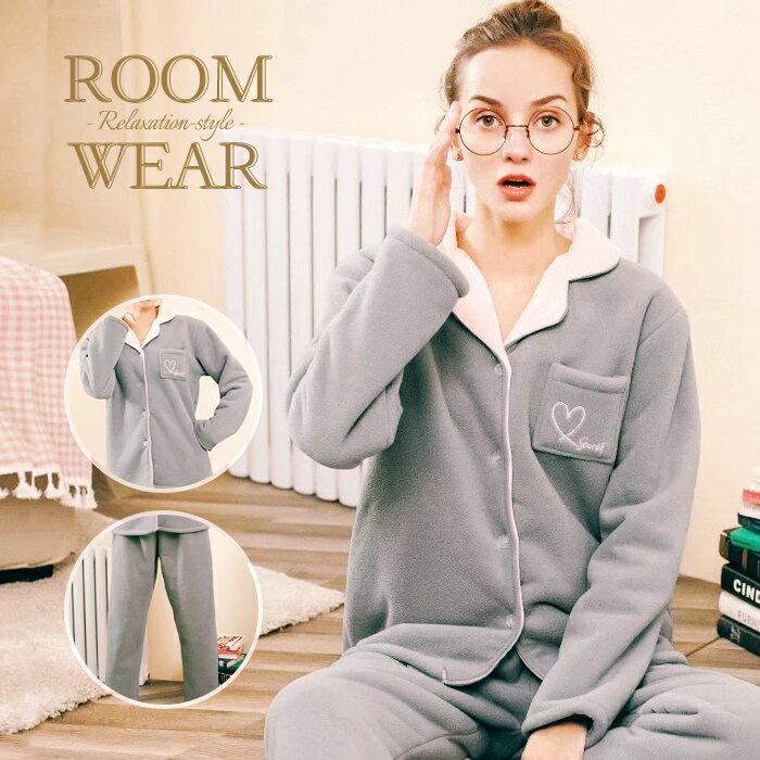ふわもこ ルームウェア 上下セット もこもこ パジャマ 部屋着 可愛い ポケット 前開き 大きいサイズ 冬 ピンク グレー フリース 通販 かわいい 冬ルームウェア もこもこパジャマ あったかルームウェア