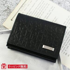 シーケー カルバンクライン 名刺入れ カードケース メンズ 74286 CK CALVIN KLEIN | ブラック 黒 ブランドロゴ型押し ブランド 牛革 本革 レザー プレゼント ギフト【送料無料 並行輸入品】