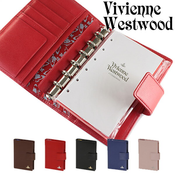 ヴィヴィアンウエストウッド 手帳 レディース メンズ ヴィンテージ WATER ORB システム手帳 リフィル付 ポケット付 ペンホルダー付 リフィル交換可能 牛革 レザー 5318M19
