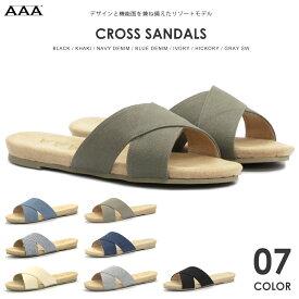【あす楽】【SALE】サンダル メンズ シューズ クロスサンダル レザー 合皮 革靴 革 リゾート 夏 大人 靴 黒 ブラック キャンバス デニム おしゃれ 部屋用 室内 社内【AAA+ サンエープラス】 2389