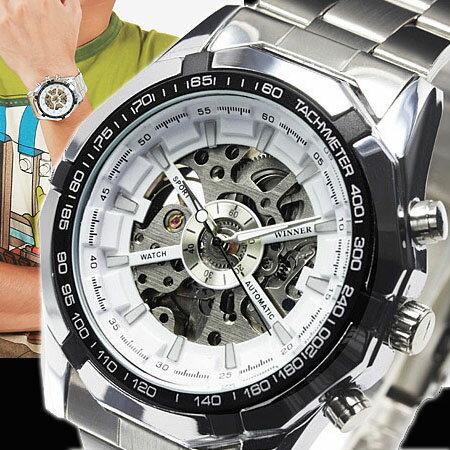 メンズ腕時計/3Dフルスケルトン自動巻き腕時計/ホワイト(ru-AC-W-BCG89WH) 重厚さと上品さを兼ね揃えたメンズ機械式モデル!腕時計 メンズ 自動巻き 男性用腕時計【RCP】02P23Aug15