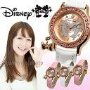 腕時計 レディース Disney ディズニー ミッキー ミニー マウス リボン チャーム ミッキー&ミニーラブキッス腕時計 (fa-NFC130514/17) キュート 本牛革 スワロフスキー クロコ