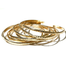 INDIAN Jewelry インディアンジュエリー GOLD BANGLE ゴールドバングル 0.3cm ナローバングル ナバホ 12Kゴールドフィルド メンズ レディース
