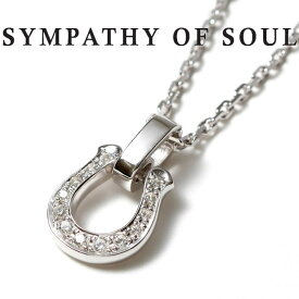 シンパシーオブソウル ネックレス ホースシュー アミュレット シルバー ジルコニア SYMPATHY OF SOUL Horseshoe Amulet w/Clear CZ x Silver Square Cable Chain 1.6mm Hook チェーンセット【正規商品 公式通販】