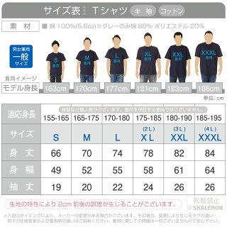 Tシャツ大人半袖サイズ表