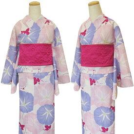 【嵐山よしむら レディース浴衣/あさがお/白ピンク】 大人柄 綺麗 花 白地]