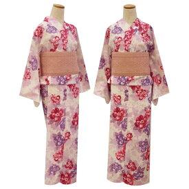 【NICE CLAUP/ナイスクラップ】浴衣 芍薬 白×紫×赤紫 レディース フリーサイズ