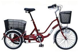 【ポイント10倍+クーポン配布:スーパーSALE】【ノーパンクタイヤ 自転車】SWING CHARLIE ノーパンク三輪自転車 MG-TRW20NG (ワインレッド)