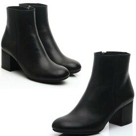 ★送料無料★チャンキーヒールレザーブーツ 本革ブーツ 海外セレブ 本革  ハンドメイドシューズ 靴通販