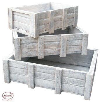 木製 箱 木箱 白 ホワイト ペンキ アンティーク ケース カントリー雑貨 コンテナ 四角 【ウッドコンテナボックス SWD-06 「3サイズセット」】