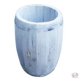 樽 置物 バレル 木製 植木鉢 白 ペンキ ホワイト アンティーク カントリー 【コーヒーバレルNS 】